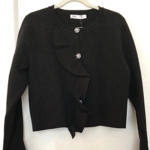 Knit Crepe Jeweled Cardigan